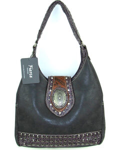 Savana Women's Fierce Concho and Croco Trim Conceal Carry Handbag, Black, hi-res