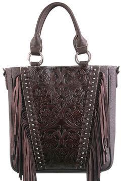 Montana West Trinity Ranch Coffee Tooled Design Concealed Handgun Collection Handbag, , hi-res
