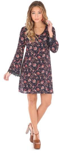 Wrangler Women's Black Crochet Trim Floral Dress , , hi-res