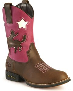 Roper Girls' Light Up Pink Bronco Cowgirl Boots, , hi-res