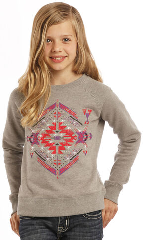 Rock & Roll Cowgirl Girls' Diamond Aztec Sweatshirt, Sand, hi-res