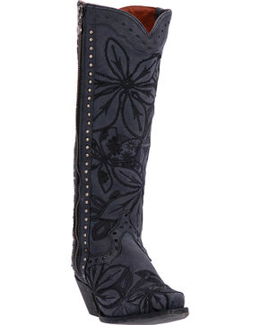 Dan Post Women's Black Embroidered Bombshell Boots - Snip Toe , Black, hi-res