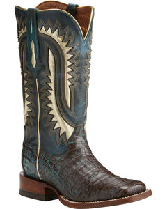 Ariat Men's Silverado Dark Brown Caiman Cowboy Boots - Square Toe, , hi-res