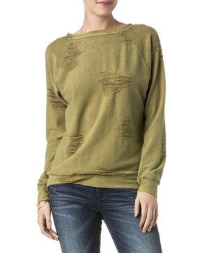 Miss Me Women's Olive Destructed Sweatshirt , Olive, hi-res