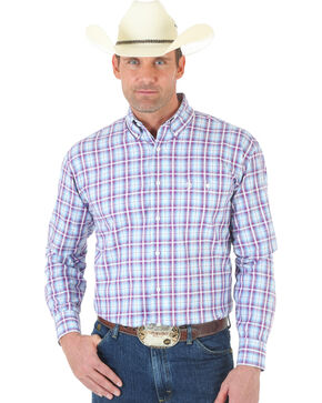 Wrangler George Strait One Pocket Ombre White Rose and Blue Plaid Twill Shirt , White, hi-res