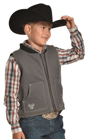 "Cowboy Hardware Steel Grey ""By the Horns: Canvas Vest , Steel, hi-res"