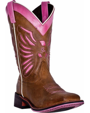 Laredo Pink Flight Cowgirl Boots - Square Toe, Tan, hi-res