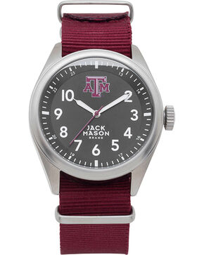 Jack Mason Texas A&M Nato Solid Strap Watch , Burgundy, hi-res