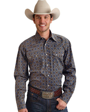 Roper Men's Amarillo Collection Brown & Navy Medallion Snap Long Sleeve Shirt, Brown, hi-res