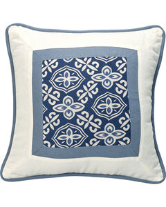 HiEnd Accents Multi Monterrey Blue and White Printed Throw Pillow, , hi-res