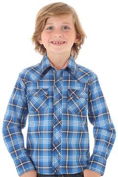 Wrangler Boys' Blue Plaid Long Sleeve Shirt, , hi-res