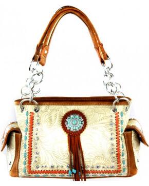 Montana West Concho Collection Satchel Bag, Khaki, hi-res