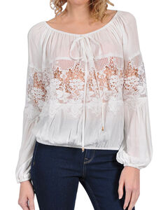 HYFVE Women's Flouncy Lace Long Sleeve Top, White, hi-res