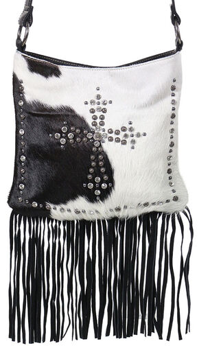 Shyanne Women's Hair-on-Hide Embellished Cross Crossbody Purse, Black, hi-res