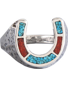 M & S Turquoise Women's Sterling Silver Horseshoe Ring, , hi-res