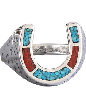 M & S Turquoise Women's Sterling Silver Horseshoe Ring, Silver, hi-res