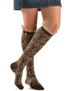 Blazin Roxx Two-Tone Floral Embroiderd with Lace Knee-High Socks, , hi-res