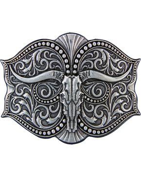 Montana Silversmiths Antiqued Longhorn Buckle, Silver, hi-res