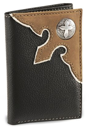 Nocona Black Cross Concho Tri-Fold Leather Wallet, Black, hi-res