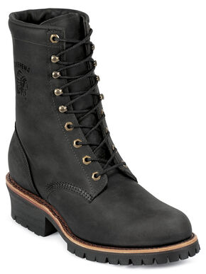 """Chippewa Men's Black Odessa 8"""" Lace-Up Work Boots - Round Toe, Black, hi-res"""