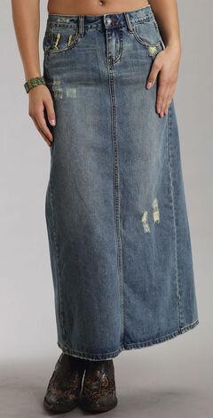 Stetson Distressed Denim Long Skirt, , hi-res
