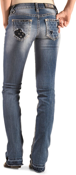 Grace in LA Women's Pastel Embroidered Eagle Bootcut Jeans, Indigo, hi-res