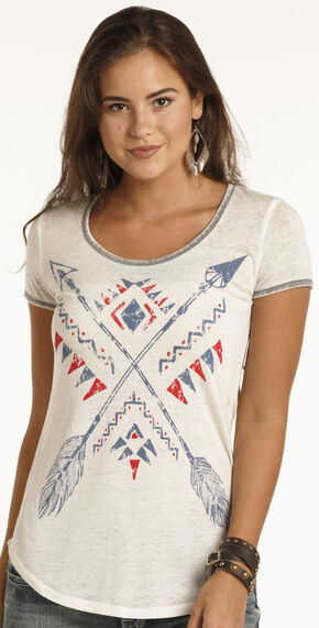 Rock & Roll Cowgirl Women's White Blue and Red Arrow Graphic Shirt , White, hi-res