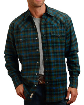 Stetson Men's Rugged Dubliner Flannel Shirt, Green, hi-res