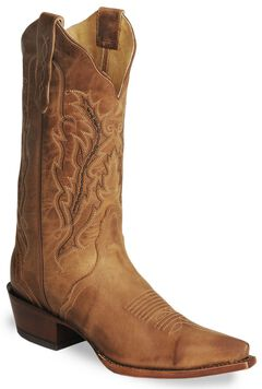 Nocona Old West Tan Cowboy Boots - Snip Toe, , hi-res