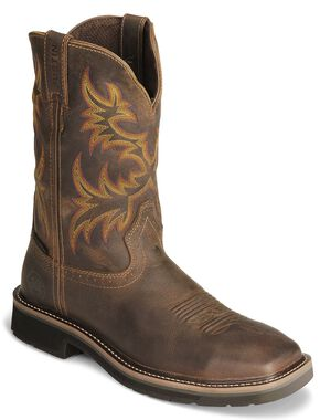 Justin Stampede Tan Waterproof Work Boots - Steel Toe, Tan, hi-res