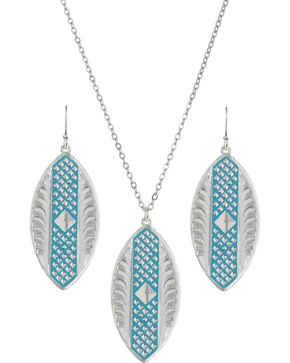 Montana Silversmiths CrossCut Turquoise Marquise Jewelry Set, Silver, hi-res