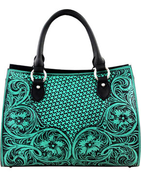 Montana West Turquoise Delila 100% Genuine Leather Tooled Collection, Turquoise, hi-res