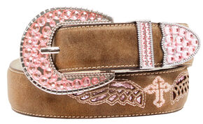 Blazin Roxx Cross and Wings Belt, Brown, hi-res