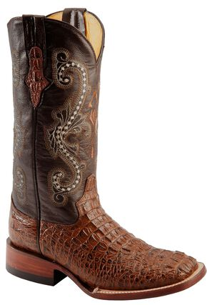 Ferrini Rusty Caiman Print Cowgirl Boots - Wide Square Toe, Rust, hi-res