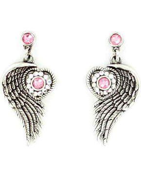Blazin Roxx Winged Heart Earrings, Silver, hi-res