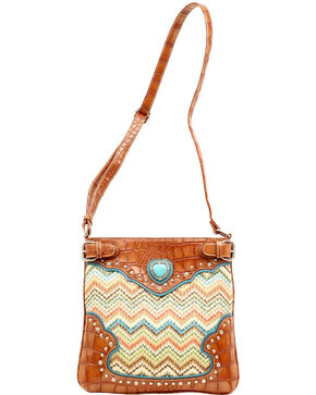 Blazin Roxx Chevron Heart Concho Crossbody Bag, Multi, hi-res