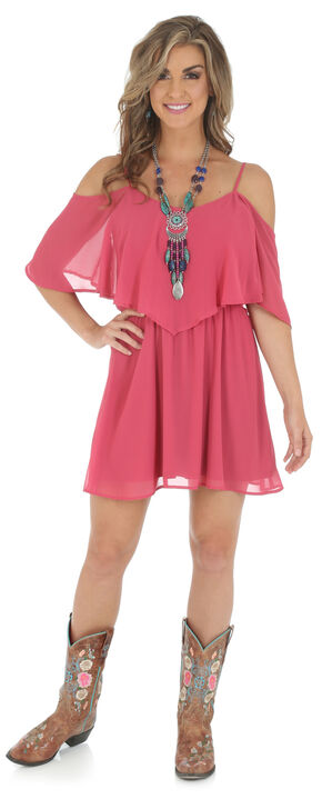 Wrangler Women's Strappy Cold Shoulder Dress, Rose, hi-res