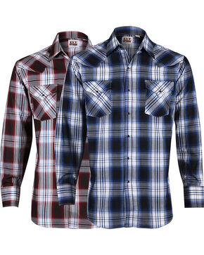 Ely Cattleman Men's Assorted Dobby Plaid Shirts - Big and Tall , Multi, hi-res
