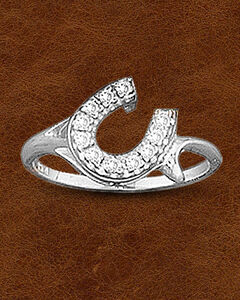 Kelly Herd Sterling Silver Offset Rhinestone Horseshoe Ring, , hi-res