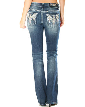 Grace in La Women's Aztec Pattern Pocket Jeans - Boot Cut , Indigo, hi-res