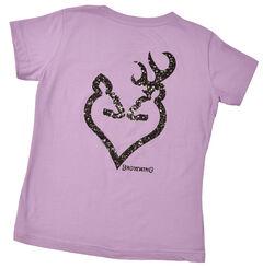 Browning Women's Lavender Glitter Buckmark T-Shirt , , hi-res