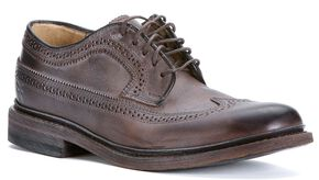 Frye Women's James Wingtip Shoes - Round Toe, Dark Brown, hi-res