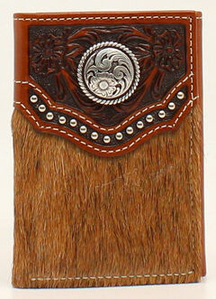 Ariat Calf Hair Embossed Studded Concho Tri-Fold Wallet, , hi-res