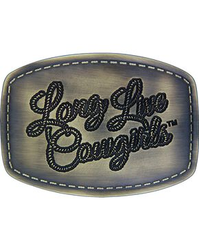 Wrangler Long Live Cowgirls Patch Attitude Buckle, Silver, hi-res