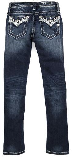 Miss Me Girls' Dark Wash Embellished Flap Skinny Jeans, , hi-res