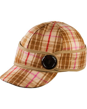 Stormy Kromer Women's Pink & Brown Plaid The Button Up Cap, Multi, hi-res
