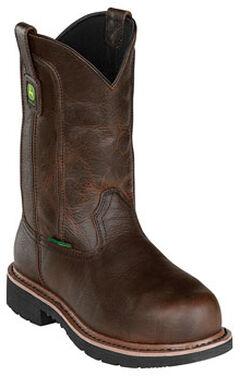 John Deere Men's Leather Pull-On Work Boots - Steel Toe, , hi-res