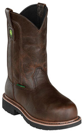 John Deere Men's Leather Pull-On Work Boots - Steel Toe, Dark Brown, hi-res