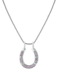 Montana Silversmiths Women's Shining Pink Horseshoe Necklace , , hi-res