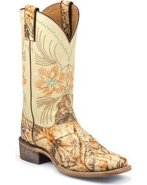 Nocona Stardust Cowgirl Boots - Square Toe, Cream, hi-res